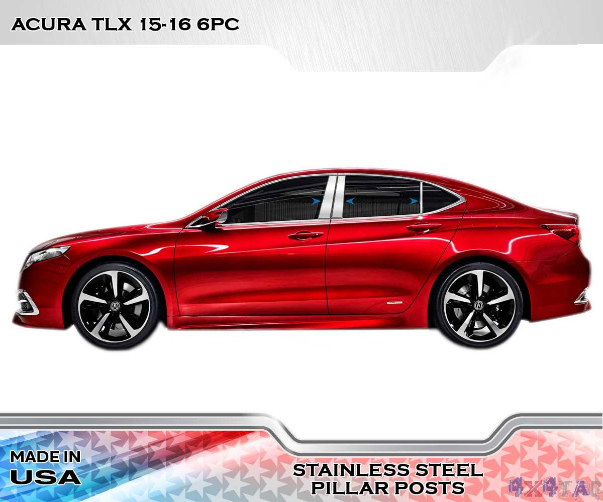 New Acura Tlx: Stainless Steel Pillar Post Chrome Door Trim 6PC For Acura