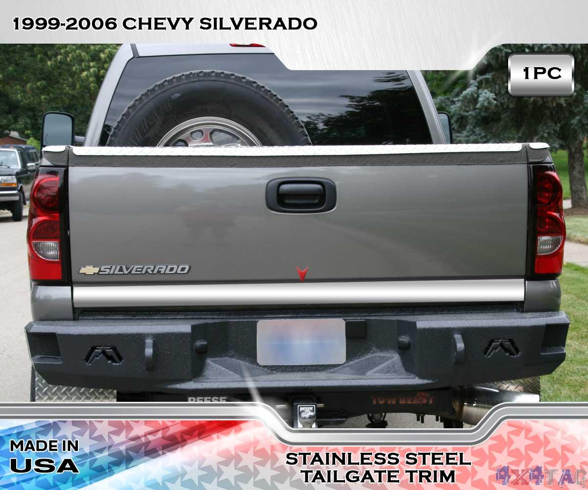 stainless steel 3 wide tailgate trim 1pc fits chevy silverado 99 06 ebay. Black Bedroom Furniture Sets. Home Design Ideas